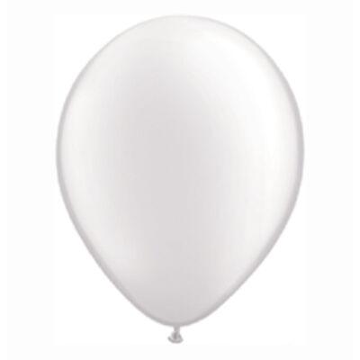 Fehér Színű Gyöngyház Fényű Kerek Gumi Lufi - 28 cm
