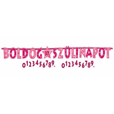 Boldog Szülinapot Rózsaszín Lányos Számozható Betűfüzér - 2,4 m
