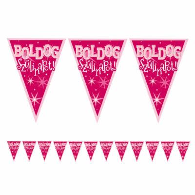 Boldog Szülinapot Rózsaszín Lányos Zászlófüzér - 5 m