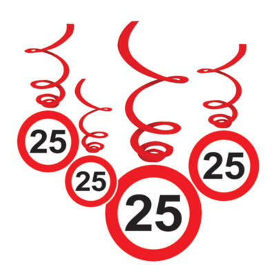 25-ös Sebességkorlátozó Születésnapi Függődekoráció - 6 db-os