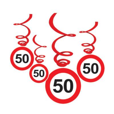 50-es Sebességkorlátozó Születésnapi Függődekoráció - 6 db-os