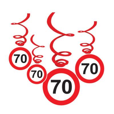 70-es Sebességkorlátozó Születésnapi Függődekoráció - 6 db-os