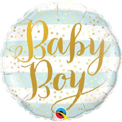 Baby Boy Blue Stripes Fólia Lufi Babaszületésre - 46 cm