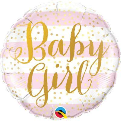 Baby Girl Pink Stripes Fólia Lufi Babaszületésre - 46 cm