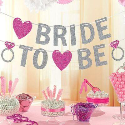 Bride to Be Glitteres Banner Lánybúcsúra