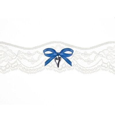 Fehér harisnyakötő Kék Masnival és Szívvel